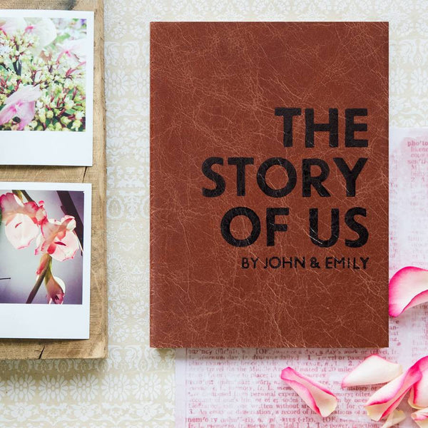 Personalised Wedding Gift - The Story of Us Notebook - personalised leather notebook / journal by Hope House Press