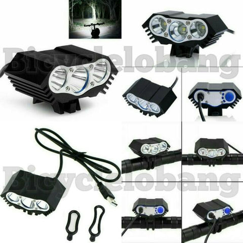 3-Cree Light USB 6000 Lumens Bright