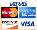 We accept PayPal, Visa, Mastercard, Discover and American Express