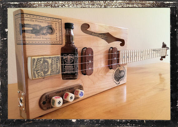 full view of the cigar box guitar
