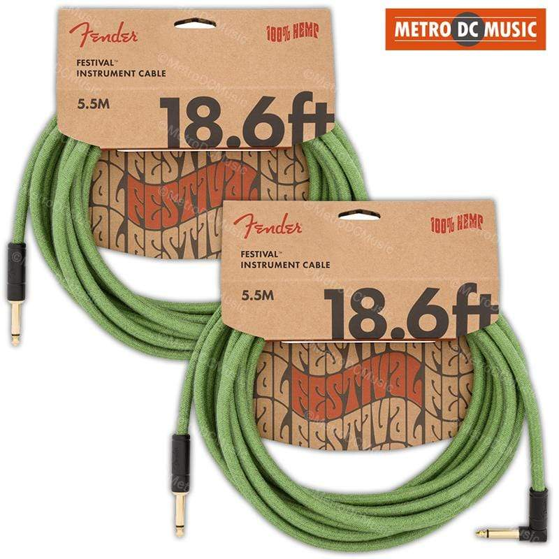 FENDER CABLES GUITAR INSTRUMENT CABLES 2-Pack Fender 18 ft Green Right-Angle Festival Guitar Cable Pure Hemp Cord NEW