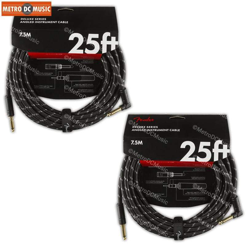 FENDER CABLES GUITAR INSTRUMENT CABLES 2-Pack Fender Deluxe 25 ft Black Tweed Right-Angle Guitar Instrument Cable Cord