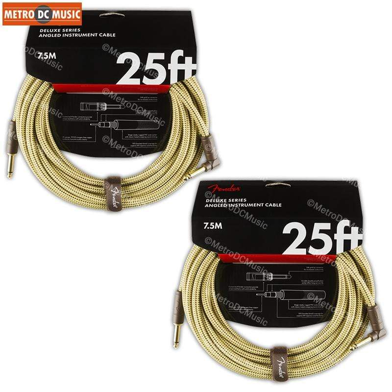 FENDER CABLES GUITAR INSTRUMENT CABLES 2-Pack Fender Deluxe 25 ft Tweed Right-Angle Guitar Instrument Cable Cord 1/4""