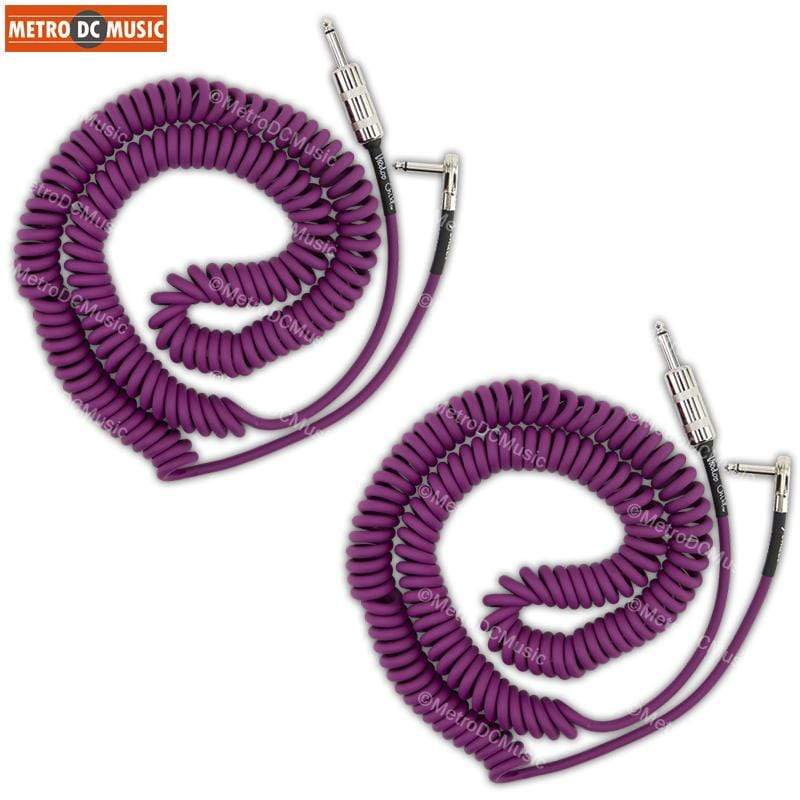 FENDER CABLES GUITAR INSTRUMENT CABLES 2-Pack Fender Hendrix Voodoo Child 30 ft Purple Right-Angle Coil Cord Cable 1/4""