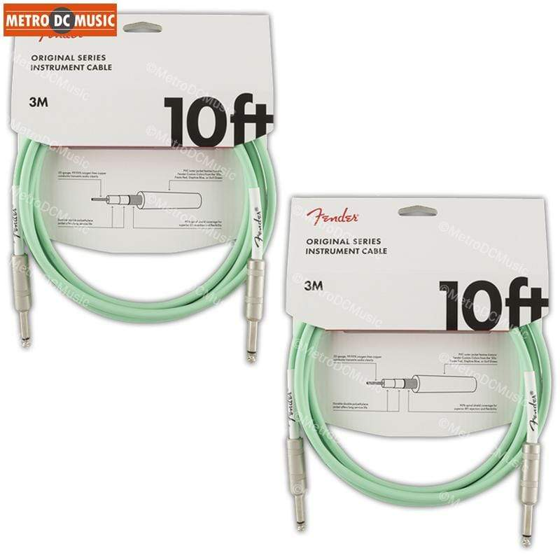 "FENDER CABLES GUITAR INSTRUMENT CABLES 2-Pack Fender Original 10 ft Surf Green Guitar Instrument Cable Cord 1/4"" NEW"