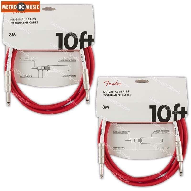FENDER CABLES GUITAR INSTRUMENT CABLES 2-Pack Fender Original 10ft Fiesta Red Straight Guitar Instrument Cable Cord 1/4