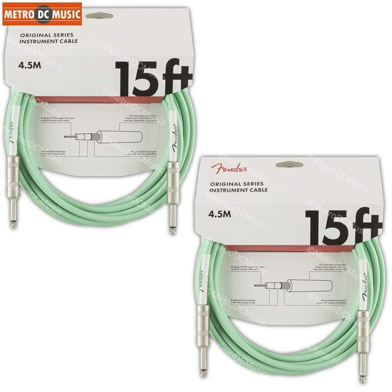 "FENDER CABLES GUITAR INSTRUMENT CABLES 2-Pack Fender Original 15 ft Surf Green Guitar Instrument Cable Cord 1/4"" NEW"