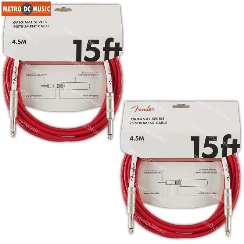 FENDER CABLES GUITAR INSTRUMENT CABLES 2-Pack Fender Original 15ft Fiesta Red Straight Guitar Instrument Cable Cord 1/4