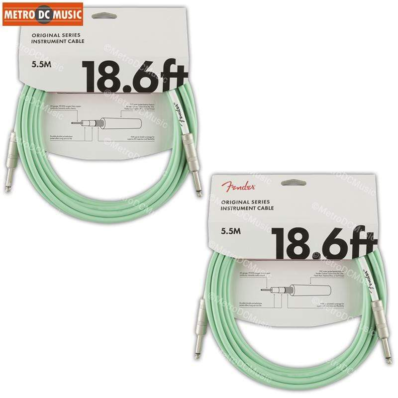 FENDER CABLES GUITAR INSTRUMENT CABLES 2-Pack Fender Original 18.6 ft Surf Green Guitar Instrument Cable Cord 1/4""