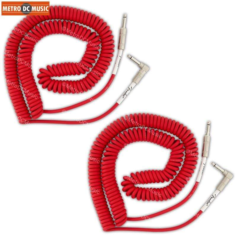 FENDER CABLES GUITAR INSTRUMENT CABLES 2-Pack Fender Original 30 ft Fiesta Red Right-Angle Coil Cord Guitar Cable 1/4""