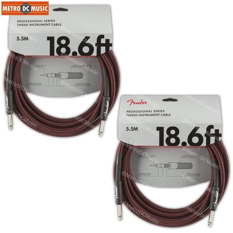 FENDER CABLES GUITAR INSTRUMENT CABLES 2-Pack Fender Professional 18.6 ft Red Tweed Guitar Instrument Cable Cord 1/4""