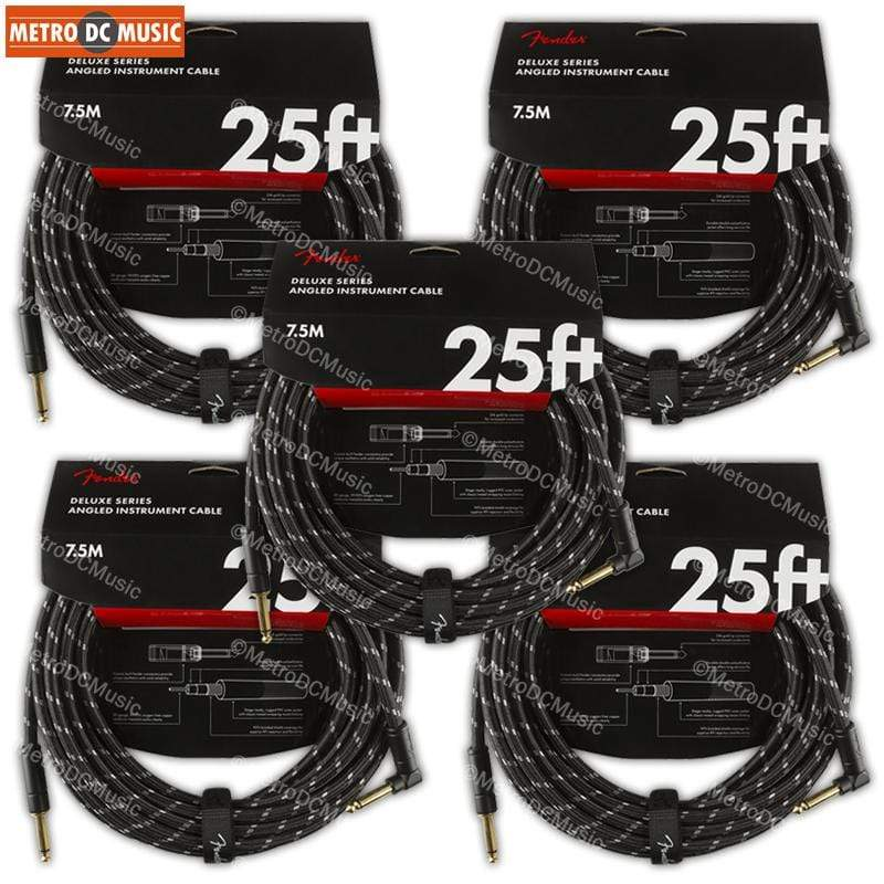 FENDER CABLES GUITAR INSTRUMENT CABLES 5-Pack Fender Deluxe 25 ft Black Tweed Right-Angle Guitar Instrument Cable Cord