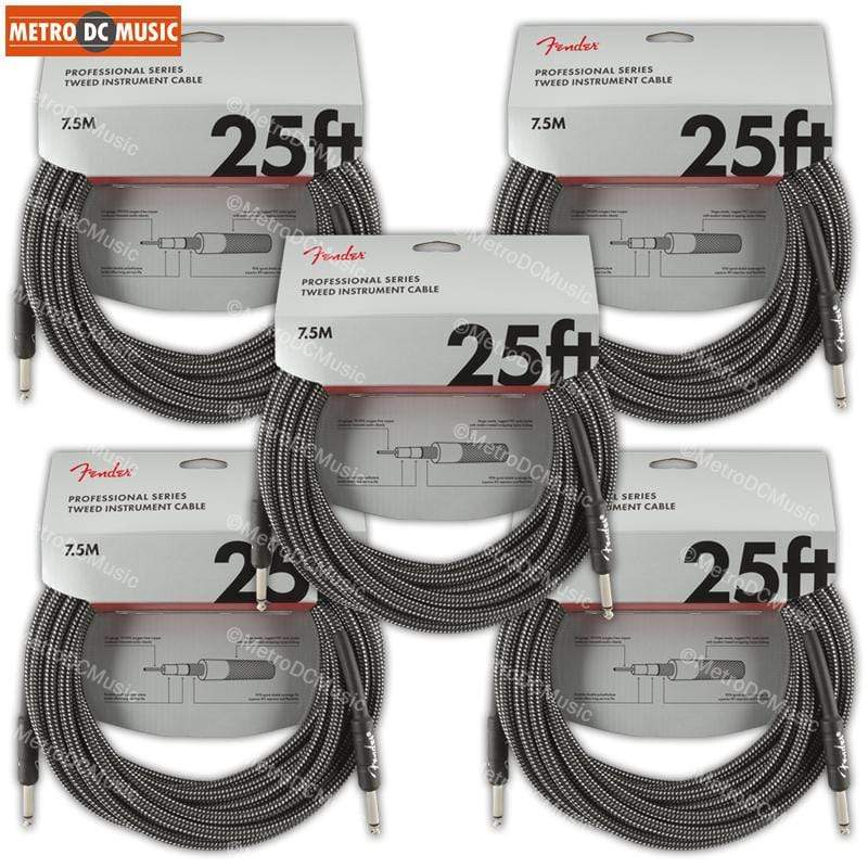 FENDER CABLES GUITAR INSTRUMENT CABLES 5-Pack Fender Professional 25 ft Gray Tweed Guitar Instrument Cable Cord 1/4 NEW