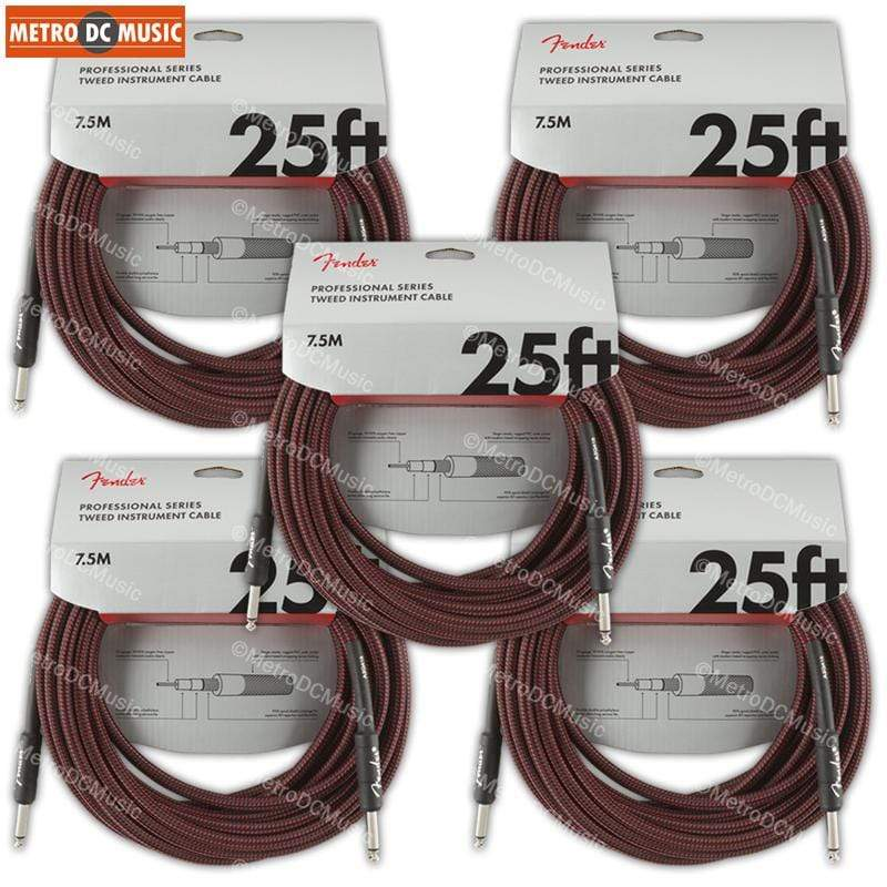 "FENDER CABLES GUITAR INSTRUMENT CABLES 5-Pack Fender Professional 25 ft Red Tweed Guitar Instrument Cable Cord 1/4"" NEW"