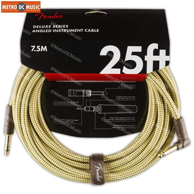 FENDER CABLES GUITAR INSTRUMENT CABLES Fender Deluxe Series 25 ft Tweed Right-Angle Guitar Instrument Cable Cord 1/4""