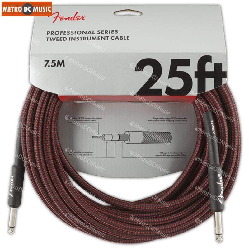 FENDER CABLES GUITAR INSTRUMENT CABLES Fender Professional 25 ft Red Tweed Straight Guitar Instrument Cable Cord 1/4""