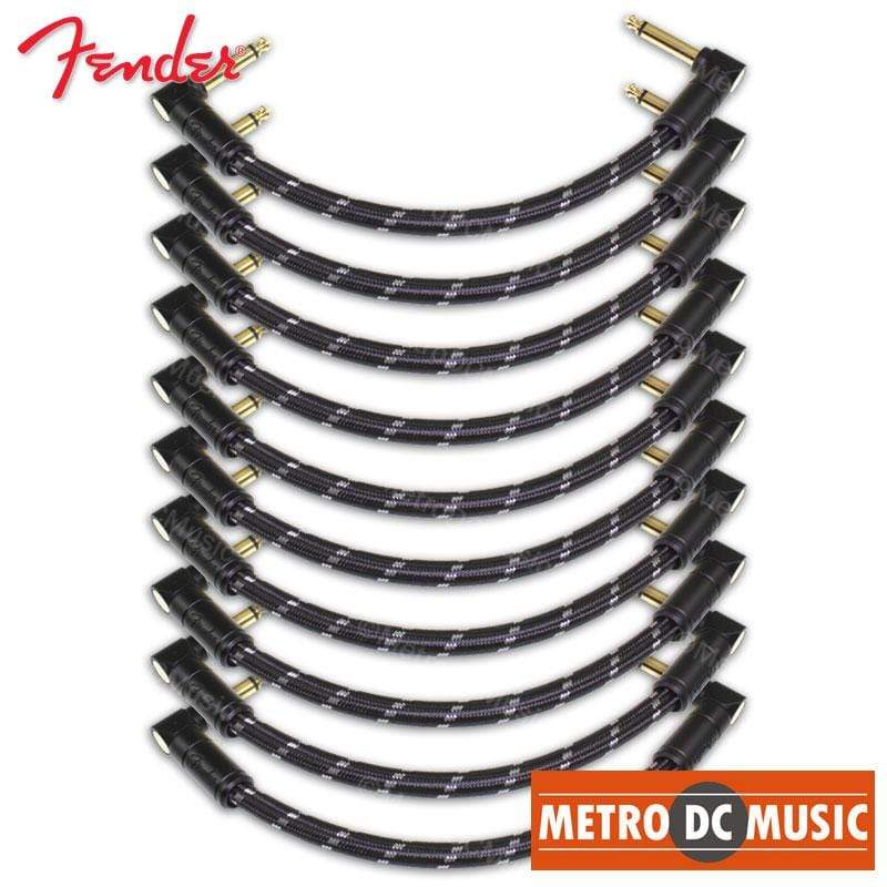 "FENDER CABLES PATCH CABLES 10-Pack Fender Deluxe 6"" Black Tweed Right-Angle Pedal Patch Cable Cord 1/4"" NEW"
