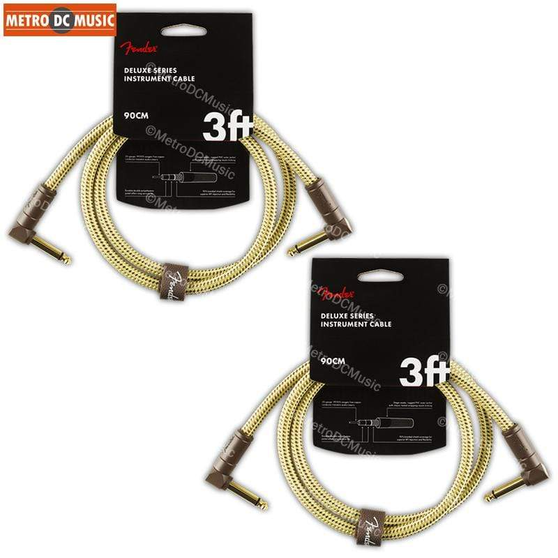 FENDER CABLES PATCH CABLES 2-Pack Fender Deluxe Series 3 ft Tweed Right-Angle Pedal Patch Cable Cord 1/4""