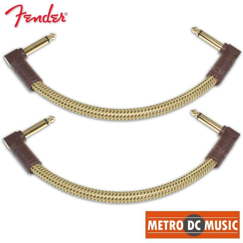 "FENDER CABLES PATCH CABLES 2-Pack Fender Deluxe Series 6"" Tweed Right-Angle Pedal Patch Cable Cord 1/4"" NEW"