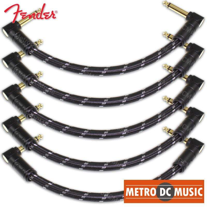 "FENDER CABLES PATCH CABLES 5-Pack Fender Deluxe 6"" Black Tweed Right-Angle Pedal Patch Cable Cord 1/4"" NEW"