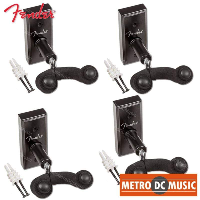 FENDER PARTS ACCESSORIES GUITAR HANGERS 4-Pack Fender Guitar Hanger Black Wood Wall Mount Hook with Hardware 0991804006