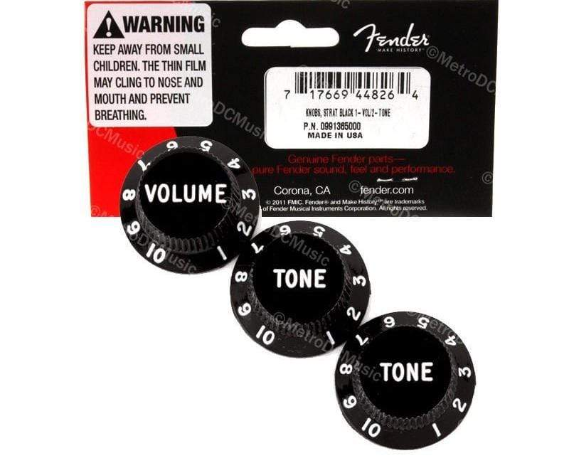 FENDER PARTS ACCESSORIES GUITAR KNOBS TIPS ACCESSORY KITS Genuine Fender Stratocaster Knobs Black Volume, 2 Tone for US Mexico 0991365000