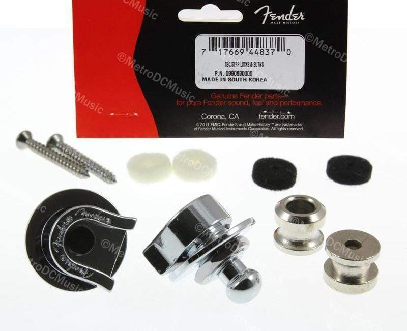 FENDER PARTS ACCESSORIES STRAP LOCKS Genuine Fender Logo Strap Locks Straplocks w/ Buttons, Screws, Pads 0990402006