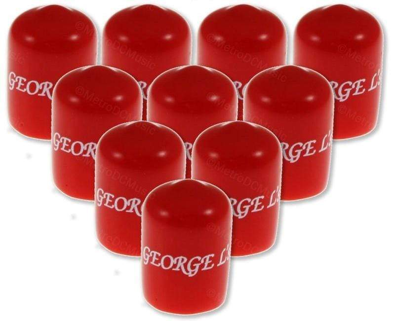 GEORGELS SOLDER-FREE PATCH CABLES 10-Pack George L's RED Stress Cap for Right-Angle Plug .155 /.225 Cable Jacket
