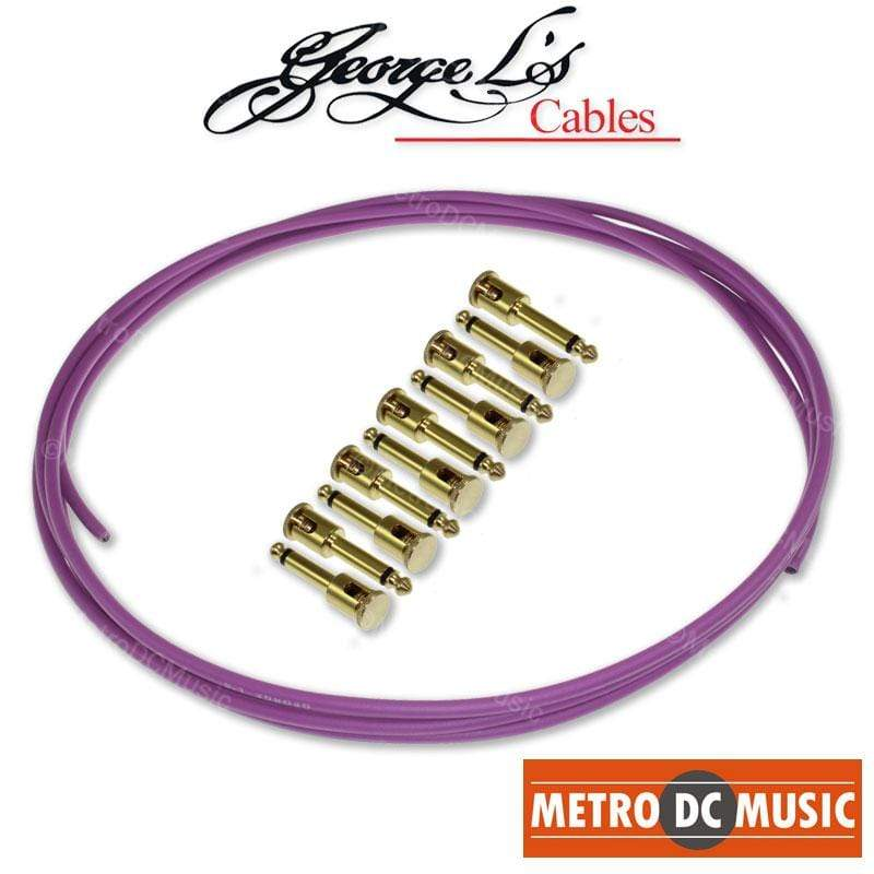 GEORGELS SOLDER-FREE PATCH CABLES George L's Pedal Board Kit 10 ft PURPLE .155 Solder-Free Cable + 10 BRASS Plugs