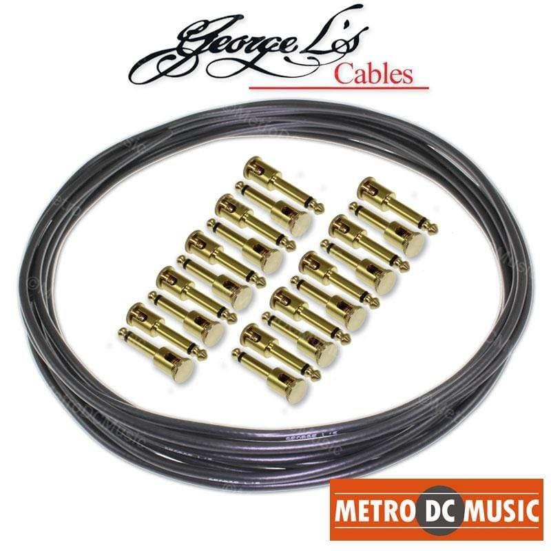 GEORGELS SOLDER-FREE PATCH CABLES George L's Pedal Board Kit 20 ft BLACK .155 Solder-Free Cable + 20 BRASS Plugs