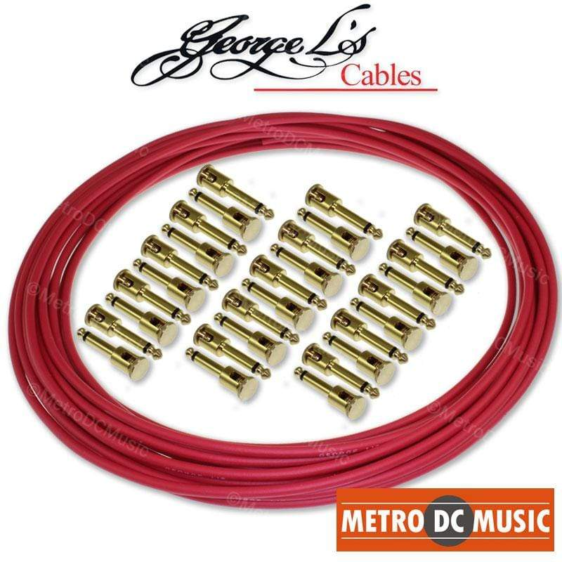 GEORGELS SOLDER-FREE PATCH CABLES George L's Pedal Board Kit 30 ft RED .155 Solder-Free Cable + 30 BRASS Plugs