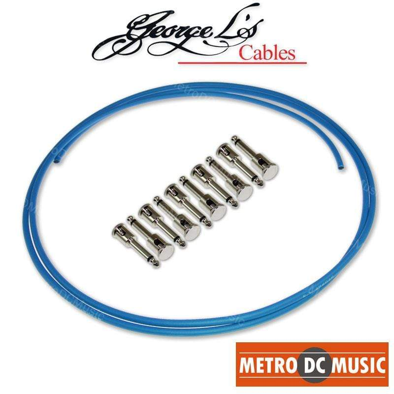 GEORGELS SOLDER-FREE PATCH CABLES George L's Pedal Board Kit 5 ft BLUE .155 Solder-Free Cable + 10 NICKEL Plugs