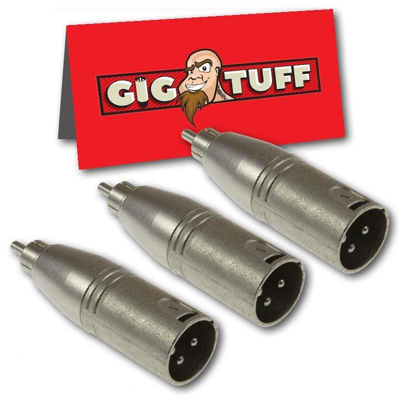 GIG TUFF ADAPTERS 3-Pack Gig Tuff XLR Male to RCA Male Phono Audio Cable Adapter Unbalanced Mic