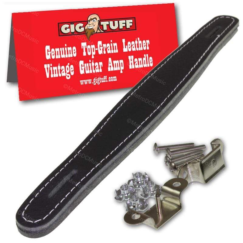 GIG TUFF AMPLIFIER HANDLES Gig Tuff Genuine Top Grain Leather Guitar Amplifier Handle Strap Black/White