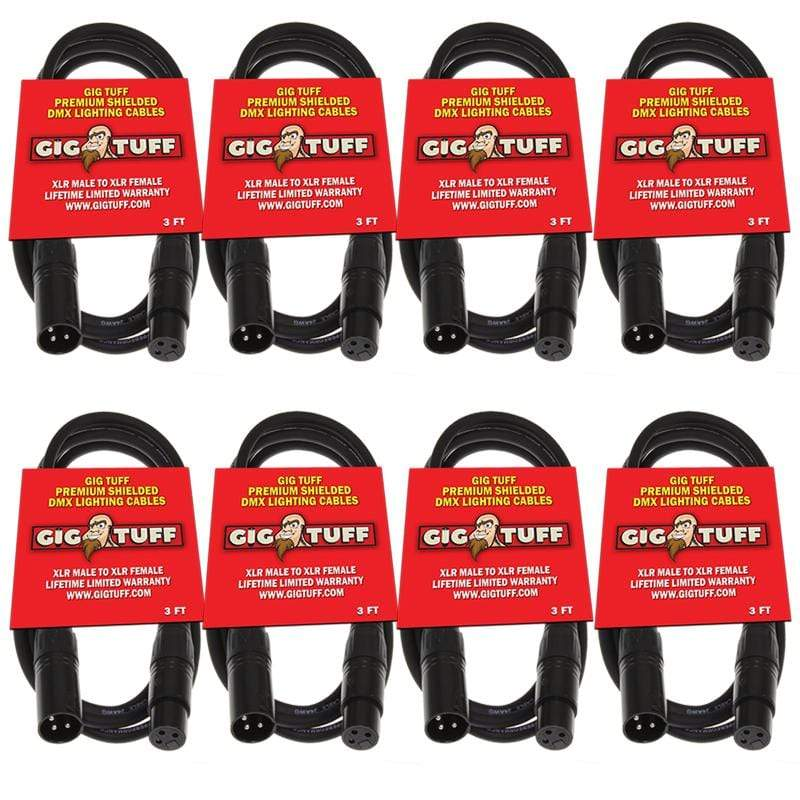 GIG TUFF DMX LIGHTING 8-Pack Gig Tuff 3' ft Premium DMX Cable 3-Pin Shielded Lighting XLR Male Female