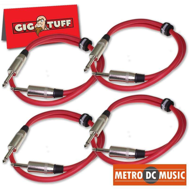 "GIG TUFF PASSIVE SPEAKER CABLE 4X Gig Tuff 3ft BIG RED Speaker Cable 12 GAUGE AWG 1/4"" Jumbo Plugs DJ PA Audio"
