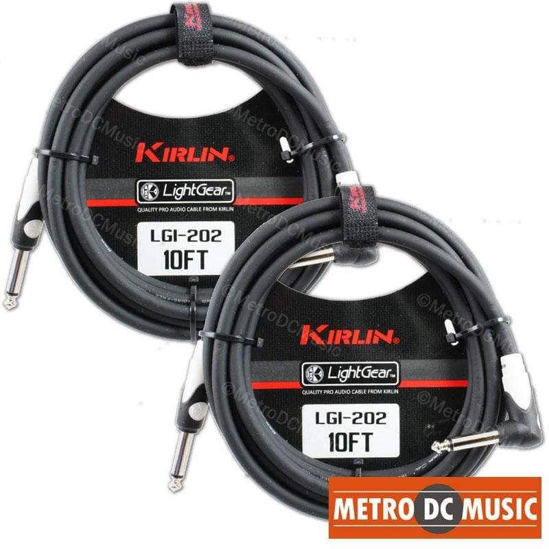 KIRLIN GUITAR INSTRUMENT CABLES 2-Pack Kirlin 10 ft Right-Angle Guitar Instrument Patch Cable Cord Free Tie
