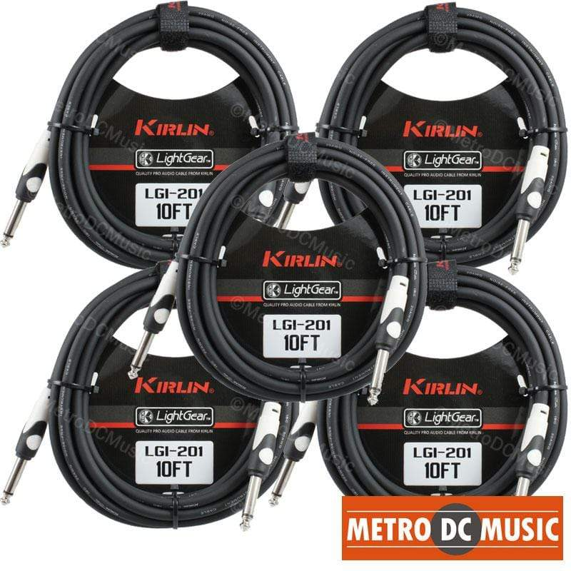 5-Pack Kirlin 10 ft PVC Right-Angle//Straight Black Guitar//Instrument Cable NEW