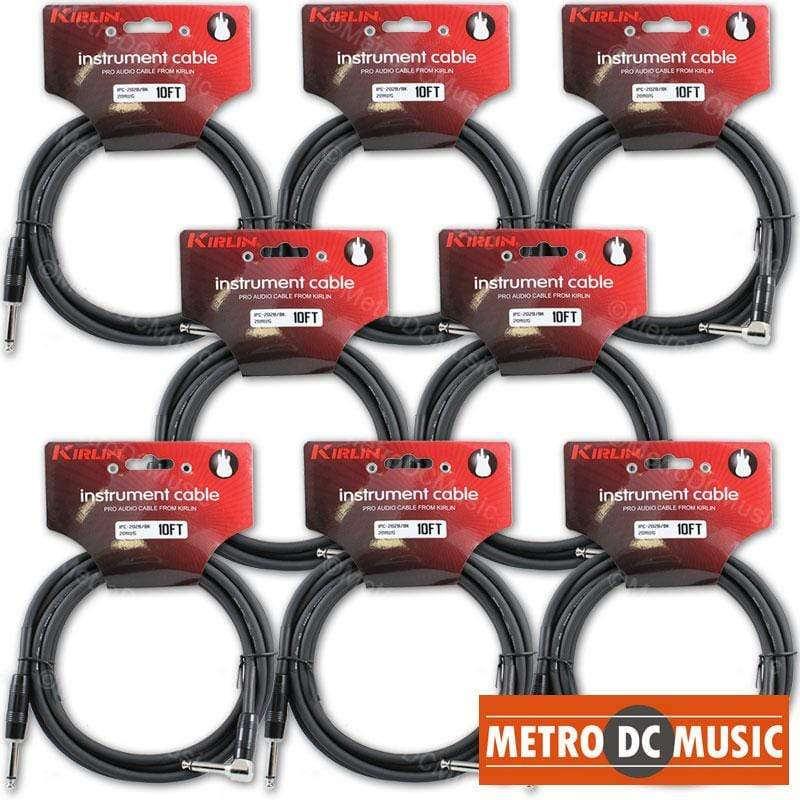 KIRLIN GUITAR INSTRUMENT CABLES 8-Pack Kirlin 10ft Right-Angle Guitar Bass Instrument Cord Cable Black 20AWG 1/4