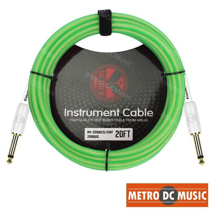 KIRLIN GUITAR INSTRUMENT CABLES Kirlin 20ft Guitar Instrument Cable Electric Patch Cord 7mm Bass +Cable Tie GRF