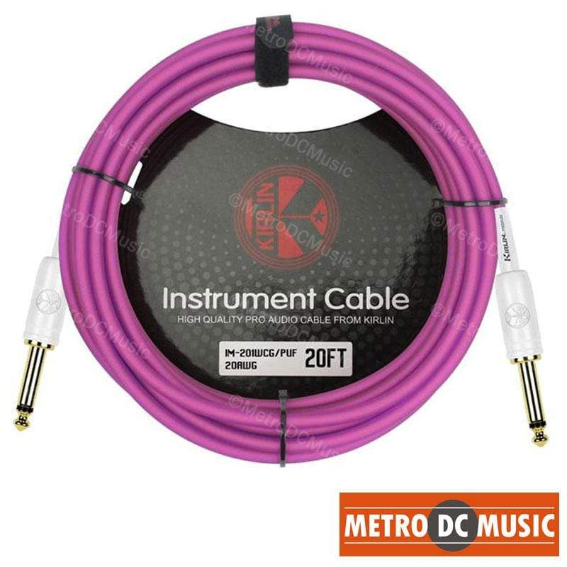 KIRLIN GUITAR INSTRUMENT CABLES Kirlin 20ft Guitar Instrument Cable Electric Patch Cord 7mm Bass +Cable Tie PUF