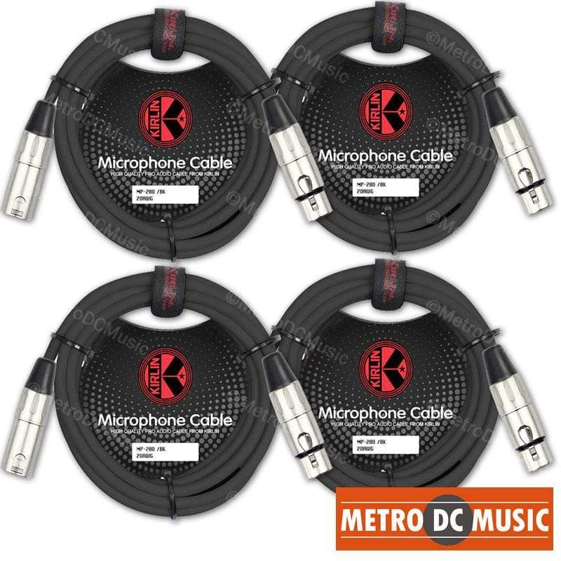 KIRLIN MICROPHONE CABLES 4-Pack Kirlin 3 ft Microphone Cable XLR Male Female 20AWG MP-280 Black Free Tie