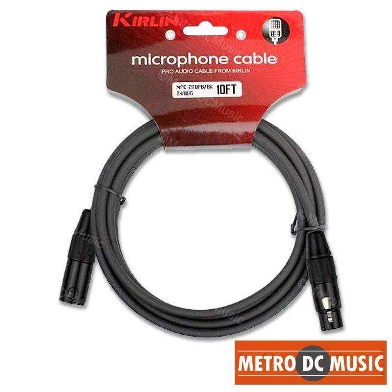 KIRLIN MICROPHONE CABLES Kirlin 10 Foot Ft Microphone Cable XLR Male-Female 20AWG Black Free Tie