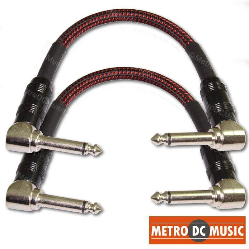 "KIRLIN PATCH CABLES 2-Pack Kirlin Premium Plus Red+Black Woven 6"" Patch Cable 20AWG Right-Angle OFC"
