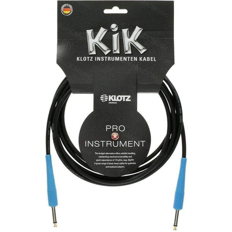 "KLOTZ GUITAR INSTRUMENT CABLES KLOTZ KIK 10ft 3m Guitar Cable Cord Black/Blue 1/4"" Straight Made in Germany NEW"