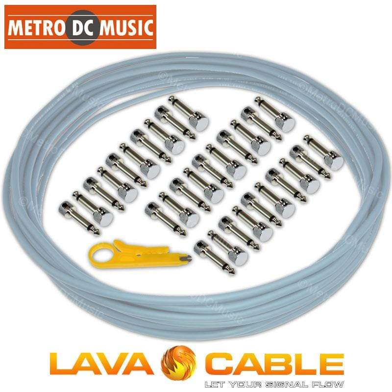 LAVA CABLE SOLDER-FREE PATCH CABLES Lava Cable Pedal Board Kit 30 ft BLUE Tightrope Solder-Free Cable + 30 V2 Plugs