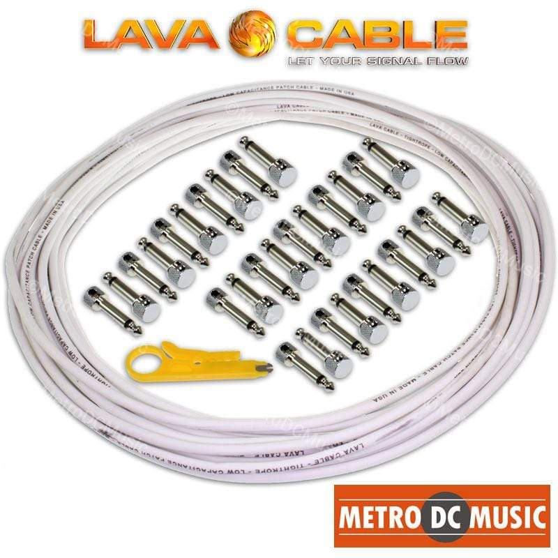 LAVA CABLE SOLDER-FREE PATCH CABLES Lava Cable Pedal Board Kit 30 ft WHITE Tightrope Solder-Free Cable + 30 V2 Plugs