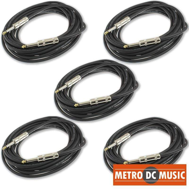 "MDM AUDIO GUITAR INSTRUMENT CABLES 5-Pack MDM Audio 18.5 ft 1/4"" Mono Guitar Instrument Cable Cord 20AWG Shielded"