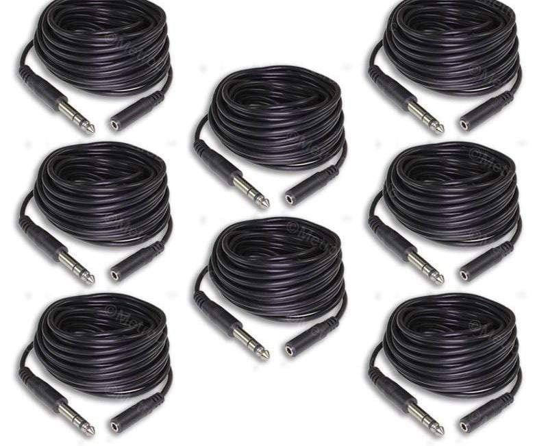 "MDM AUDIO HEADPHONE EXTENSION CABLES 8-Pack 25 ft Headphone Extension Cable 1/4"" Male to 1/8 Female Stereo 6.35 3.5"