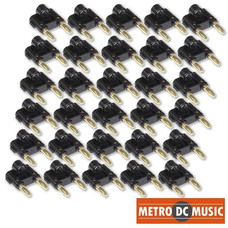 METRO DC MUSIC BANANA PLUGS BINDING POSTS 30X MDM Audio Black Dual-Banana Plug with Gold-Plated Contacts DJ Speaker Plugs